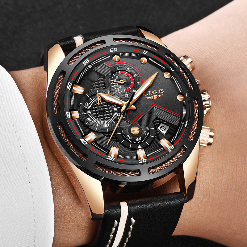 LIGE Mens Watches Top Brand Luxury Casual Leather Sport Watch Men's Military 30M Waterproof Quartz Watch Male Relogio Masculino beentrill футболка