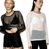 2018 Summer Street Style Solid Color Fishnet T Shirt Women Fashion Sexy Long Sleeved Hollow Shirt