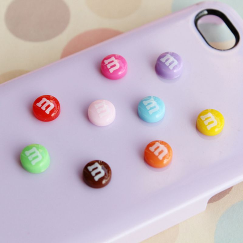 100 PCS mixed color round convex back scrapbooks (M) resin is suitable for mobile phone decoration 14 mm 009002010