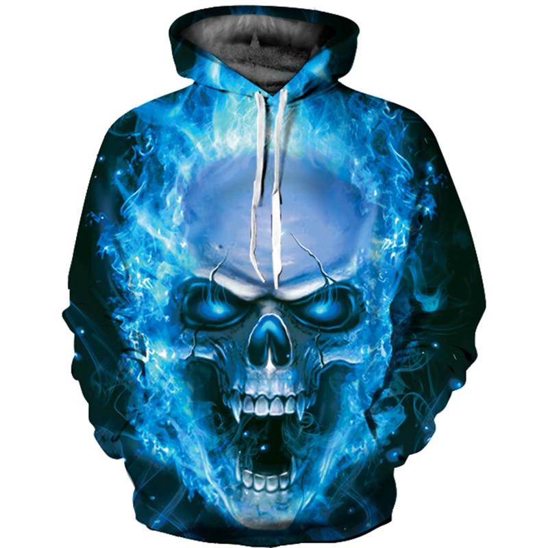 Blue Fire Skull 3D Print Men/Women Hoodies Couple Long Hoodies Sweatshirts Black Color 3XL Hooded Hoodies