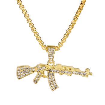 AK 47 With Rhinestones Necklace for Women Men Pendant Choker Jewellery Necklaces for Teen Girls image