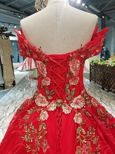 Image 4 - LS00411 1 red brides wedding party dress off the shoulder sweetheart beauty evening dress quick shipping china factory wholesale