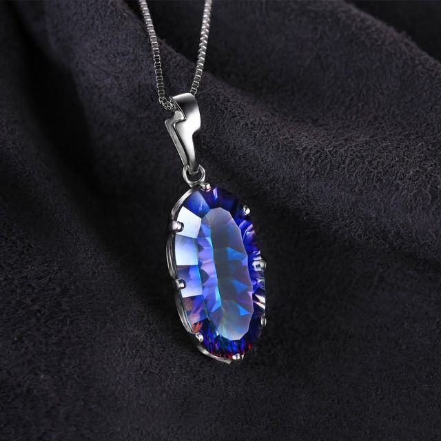 JewelryPalace 11ct Genuine Mystic Blue Rainbow Topaz Pendant Solid 925 Sterling Silver Unique Jewelry Fashion Accessories Gift