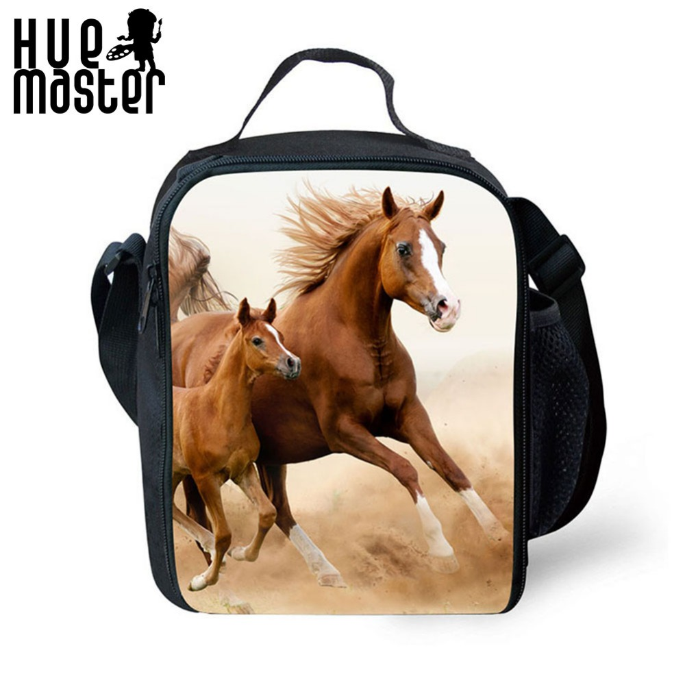 HUE MASTER Cool Animal Wolf horse Lunch Bags For Kids Insulated Picnic Food Lunch Box School Food Bags ice bag for girls boys