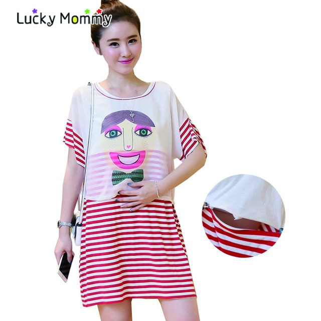 68ca53f152f92 Summer Fashion Twinset Nursing Dress for Feeding Stripe Maternity Wear  Clothing for Nursing Mothers Pregnancy Dresses