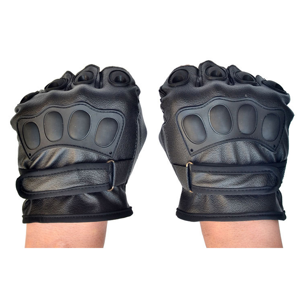 Fingerless gloves climbing - Winter Gloves Pu Leather Climbing Bike Sport Gloves Fingerless Antiskid Motorcycle Cycling Gloves Guantes Ciclismo