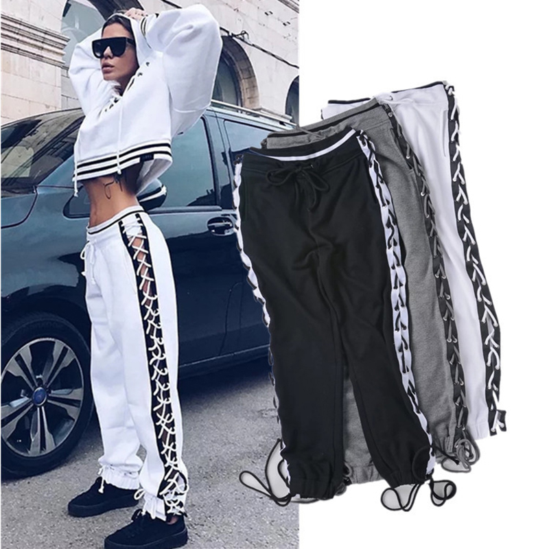 Sexy Lace Up Hollow Out Casual Loose Pants Women Patchwork Color Block Drawstring Harem Pants Hip Hop Trousers Black White P45