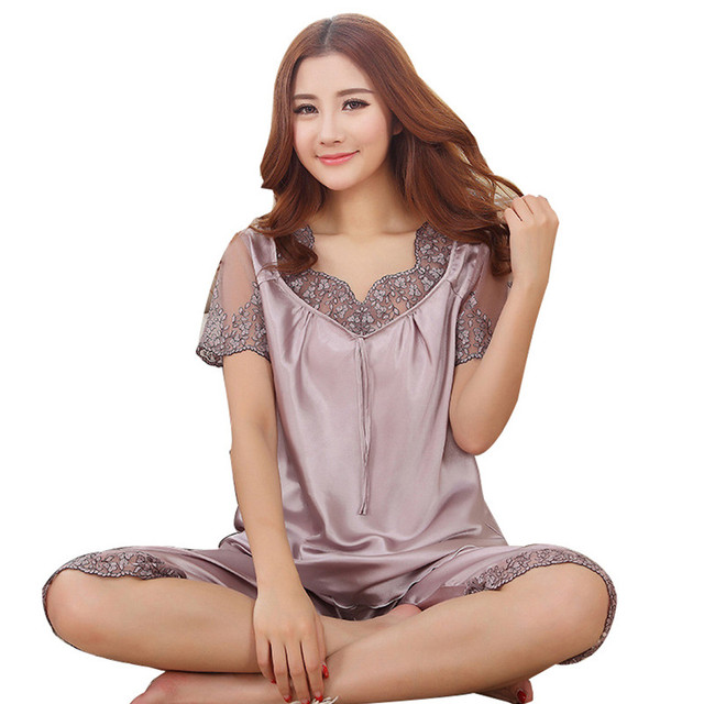 2018 Top quality silk pajama sets hollow out embroidery lace v neck lady  night suits transparent breathable women lounge wear d9f13a901