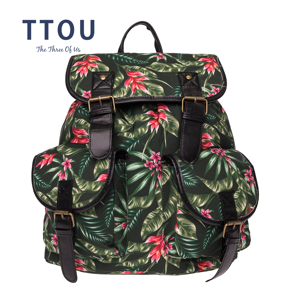 TTOU Women Printing Backpack Casual Canvas Travel backpack fro Girls Vintage School Bags for Teenagers Sac A Dos Femme Mochilas