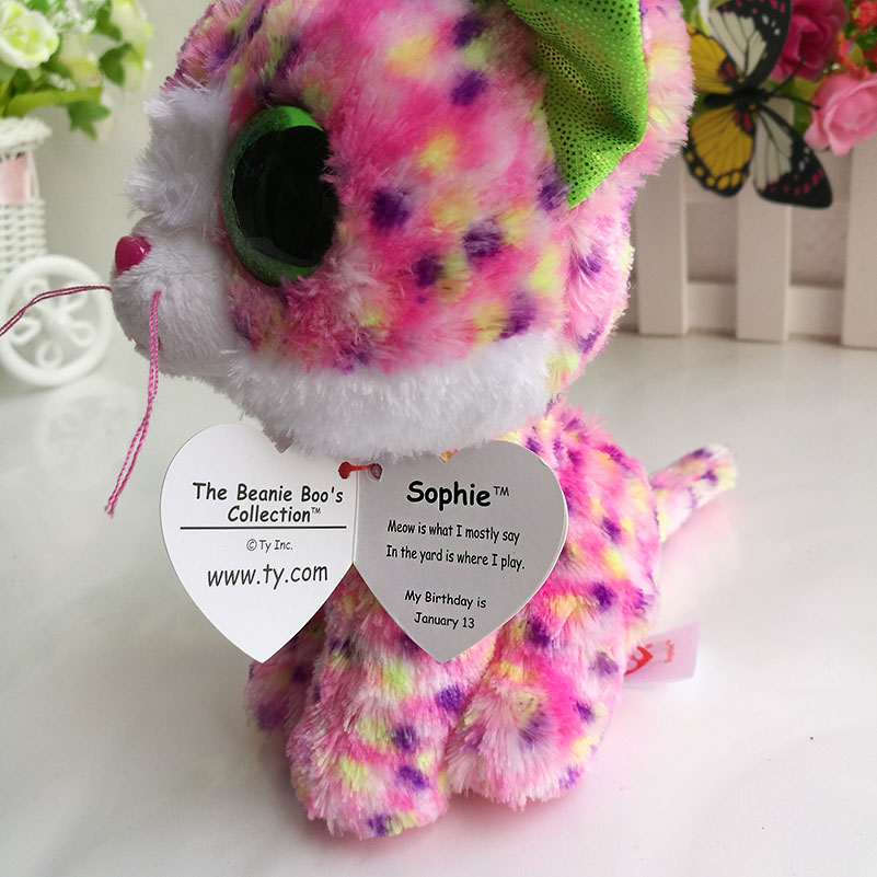 In Stock Original Ty Beanie Boos Big Eyed Stuffed Animal Sophie pink cat  Plush Doll Kids Toy 6   15cm Birthday Gift-in Stuffed   Plush Animals from  Toys ... 82c5dc085a66