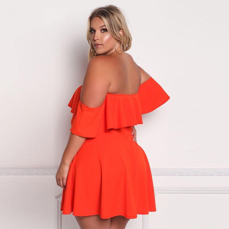 US $25.8  Summer 2018 Women Orange Empire Plus Size Dresses for Women 4xl  5xl 6xl Mini Black Dress Green Off Shoulder Dress Plus Size-in Dresses from  ...