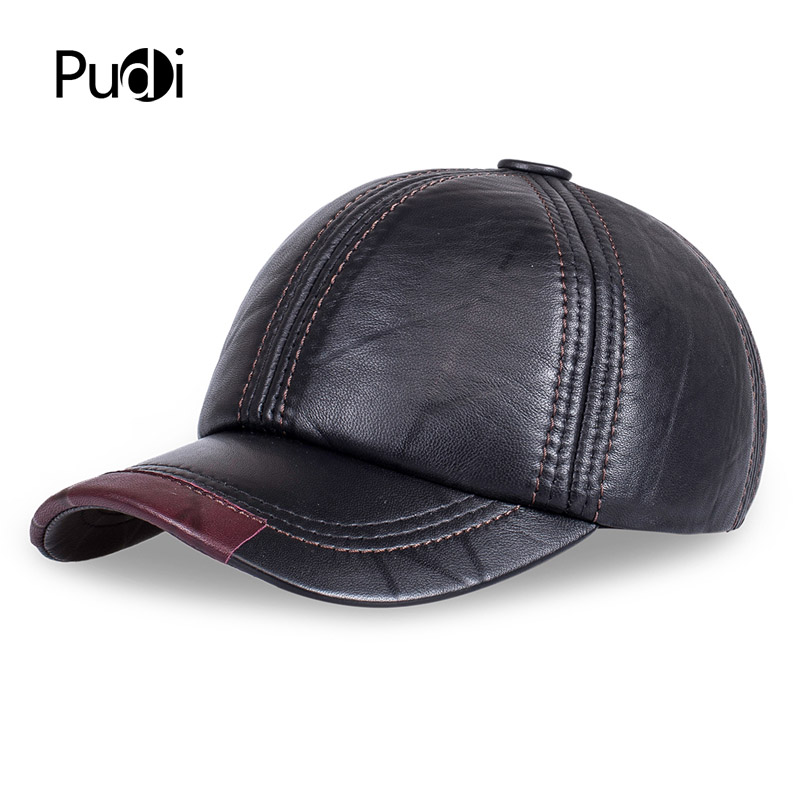 HL099 genuine leather men cap hat brand new baseball cap fashion men's real leather solid adjustable hats/caps aorice winter genuine sheepskin leather hat brand new men s warm earmuffs hat man baseball caps leisure fashion brand hats hl030