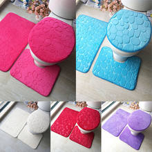 Hot Sells Three Pieces Bathroom Mat Set Water Absorbent U-shape Toilet Seat Lid Cover(China)