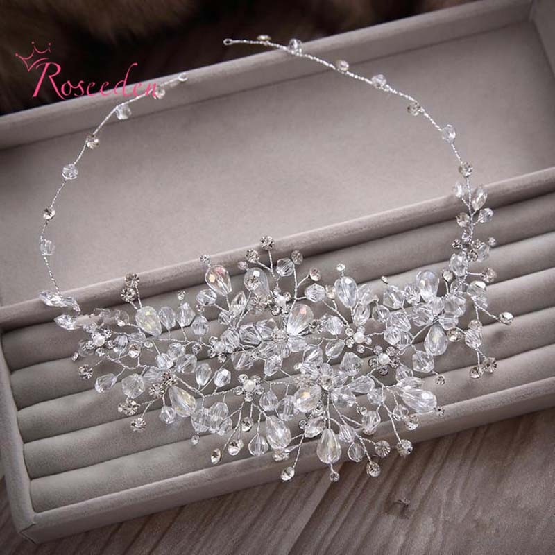 100% handmade crystal beads bridal wedding hair ornaments women Gorgeous rhinestone party wedding accessories new design RE615 8