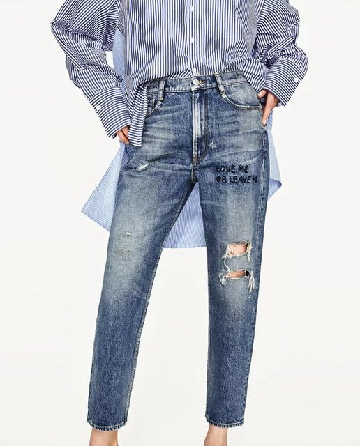 2017ss New Woman Vintage MID-RISE BOYFRIEND Denim Jeans Knee Rips Front  Text love me leave me Embroidery crop trousers e236330da3