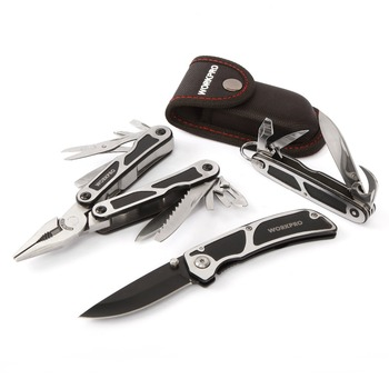 WORKPRO 3PC Survival Tool Kits Multi Plier Multifunction Knife Tactical knife Camping Multitools 2