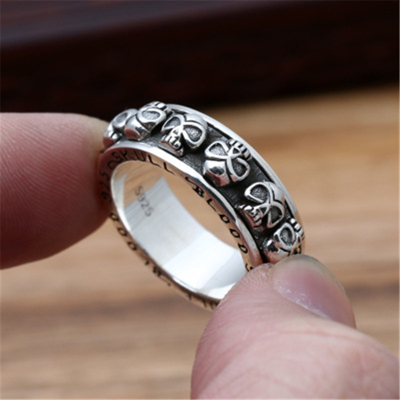 BESTLYBUY S925 sterling silver jewelry retro Thai silver men's personality Skull ring punk fashion ring s925 sterling silver skull ring metrosexual officers personality of world war ii punk man retro silver ring opening