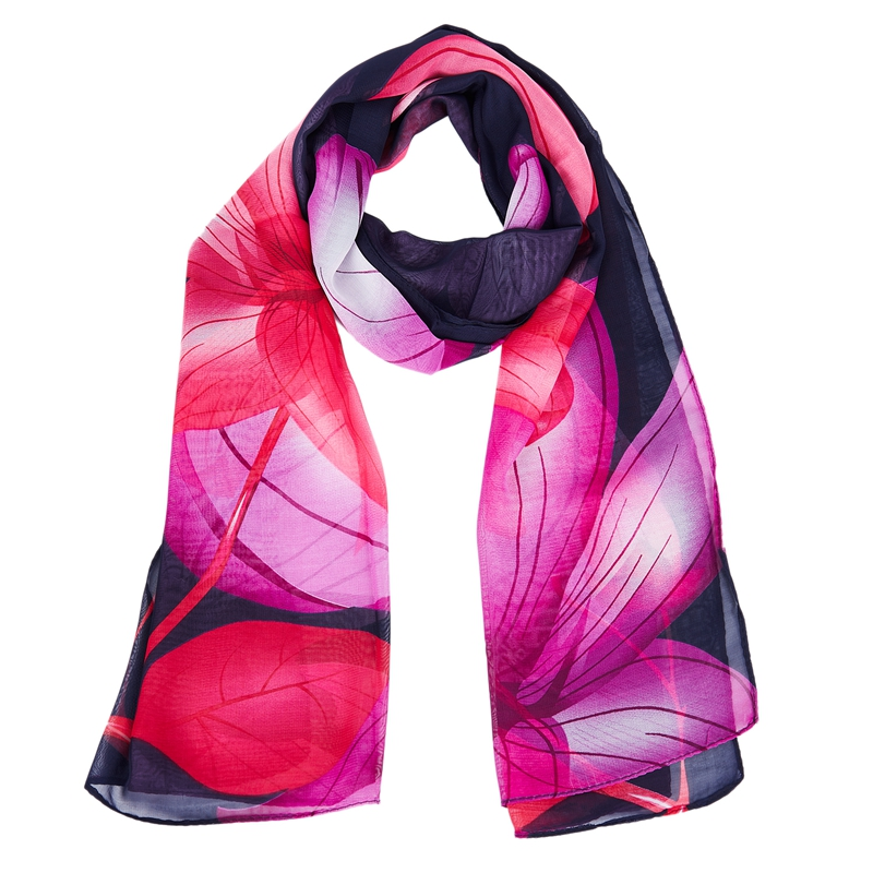 Georgette   Scarves     Wraps   Women's Silk Feeling Chiffon Shawl Thin Bandana Summer Floral Beach Shawl T26