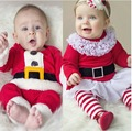 Navidad fiesta De Santa Claus Cosplay trajes bebés recién nacidos niñas que arropan el sistema Tops T-shirt + Pants Roupas De Bebe S2404