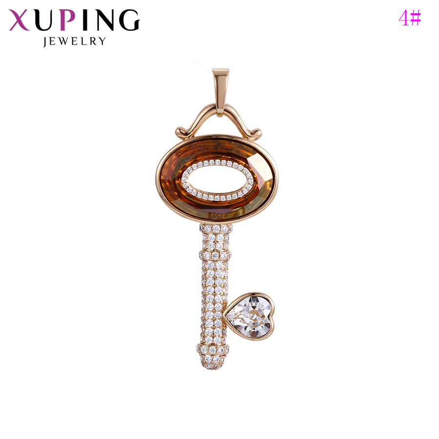 Xuping Pendant Necklaces Key Shaped Crystals from Swarovski European Style for Women Jewelry Christmas Gift S141.2 33545