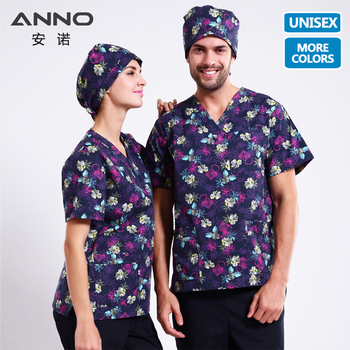 ANNO Printed Medical Clothes T Shirts Pants Nurse Uniform Style in Scrubs Set Surgical Suit clinicos Nursing Scrubs