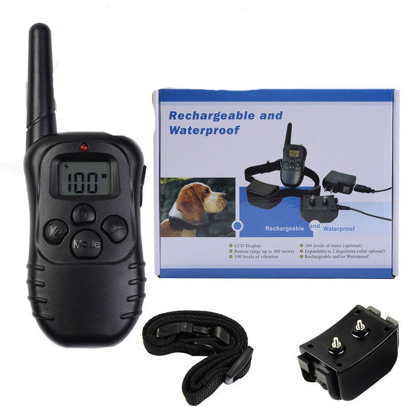 300M Remote Electronic Dog Training Collar With LCD Display Rechargeable Waterproof 100Levels Vibration Shock Stop Barking New3