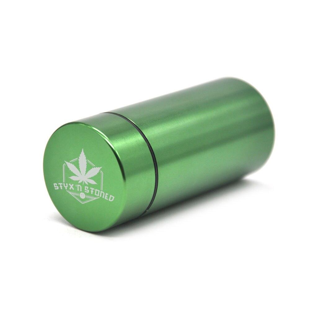 Тайник jar-герметичная запах доказательство Алюминий травы контейнер травы Шлифовальные станки курительная трубка Pill Box, отправить сигары держатель+ Стекло советы для - Цвет: Green-StyxnStoned