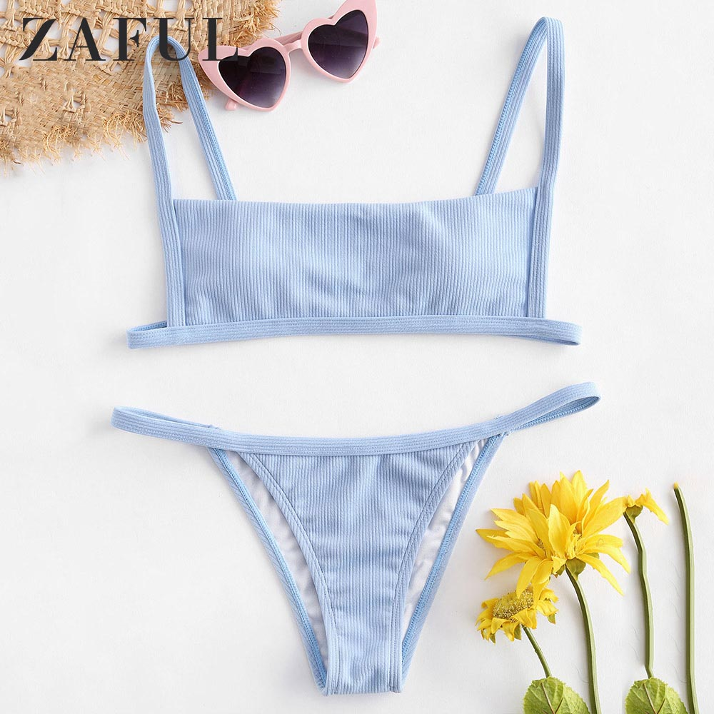 ZAFUL Bikini Hook Ribbed String Bikini Set Wire Free Low Waisted Swim Suit Square Neck Swimwear Padded Solid Bathing Suit 2019