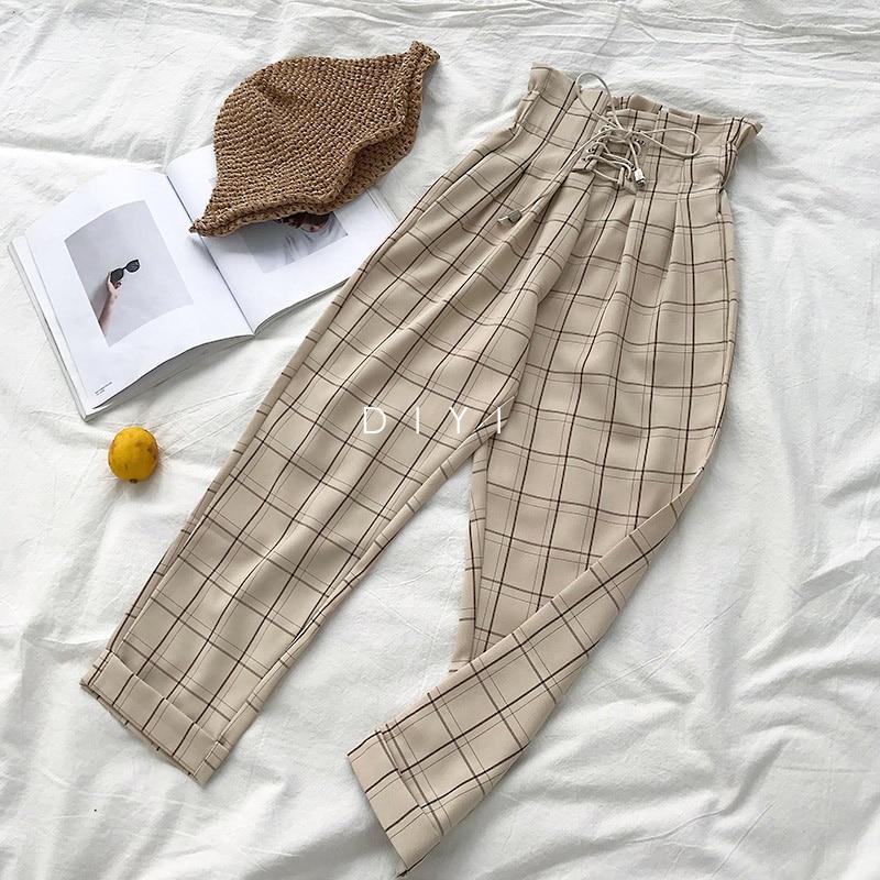 CamKemsey Japanese Harajuku Casual Pants Women 2019 Fashion Lace Up High Waist Ankle Length Loose Plaid Harem Pants 27