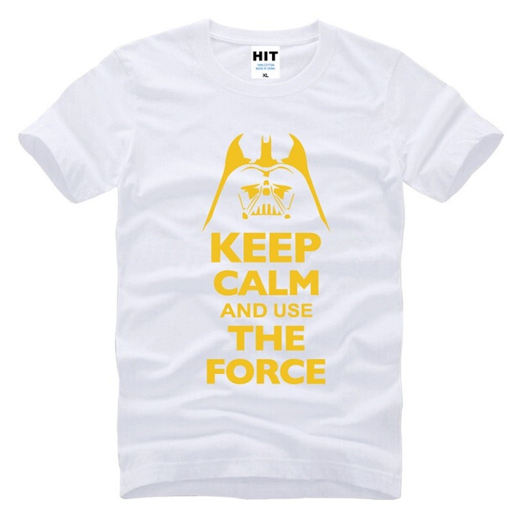 white tshirt keep calm and use the force with darth vader tshirt