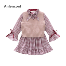 Anlencool New Spring children's clothing 2019 Korean girl bow plaid dress + wool vest garden dress long-sleeved girls dress suit