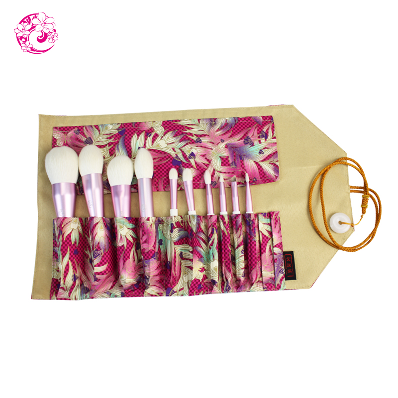 ENERGY Brand camellia 10pcs Goat Hair fashion new arrival Makeup Brushes with bag Brochas Maquillaje Pinceaux Maquillage fsc03
