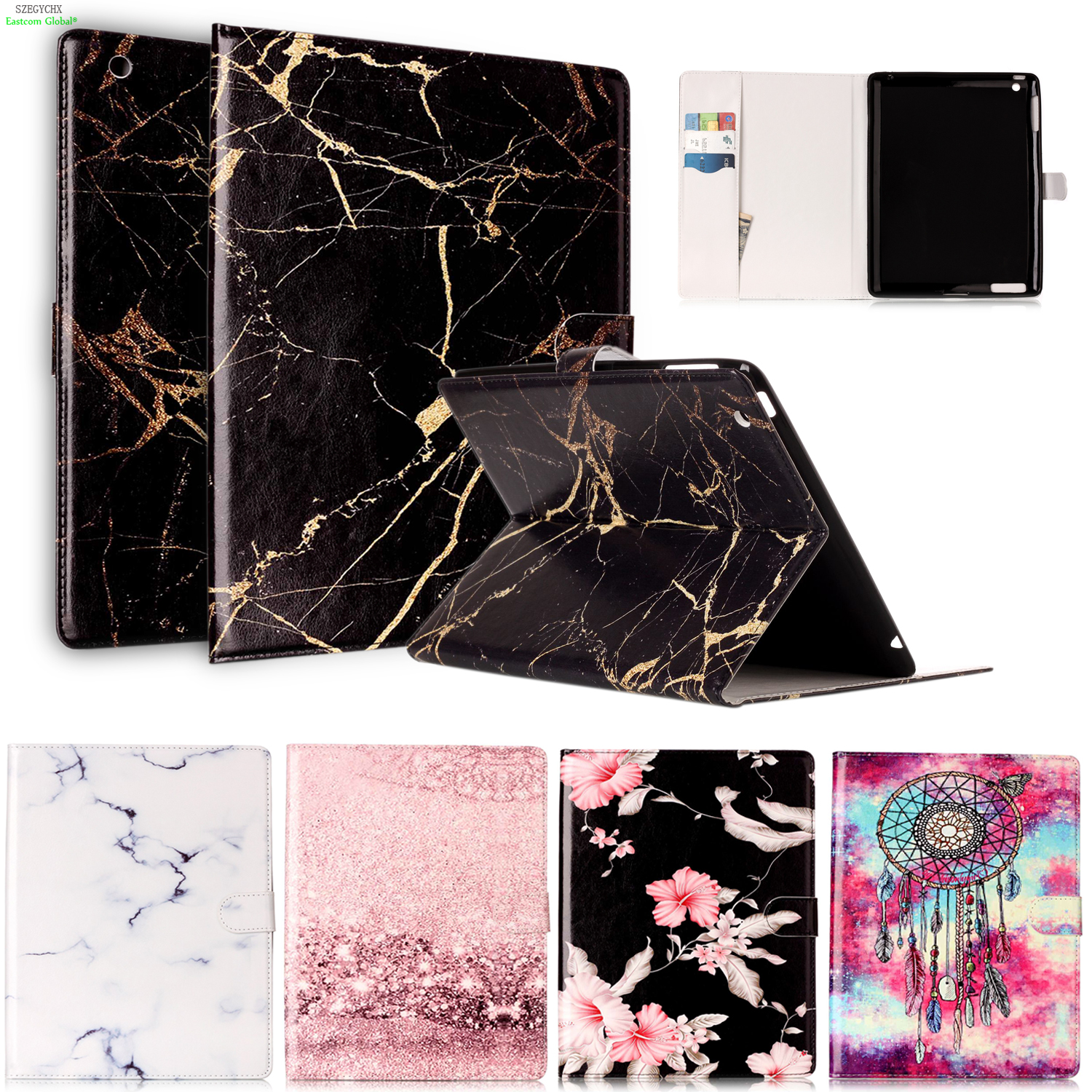 Marble Pattern PU Leather Case For iPad 2 3 4 Case Smart Stand Flip Cover For iPad 3 2 4 Tablet Stand Original Ultra Slim Shell lichee pattern protective pu leather case stand w auto sleep cover for google nexus 7 ii white
