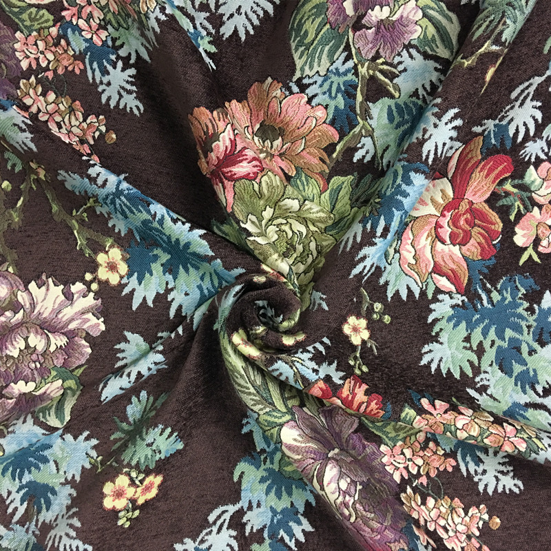 Deluxe Dark Brown Vintage Flower Thick Polyester Rayon Soft Chenille Floral Curtain Woven Sofa Upholstery Fabrics