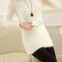 2015 New Mohair In Korean Version Of Self Make Solid Color Turtleneck Mohair Pullovers Sweater Women