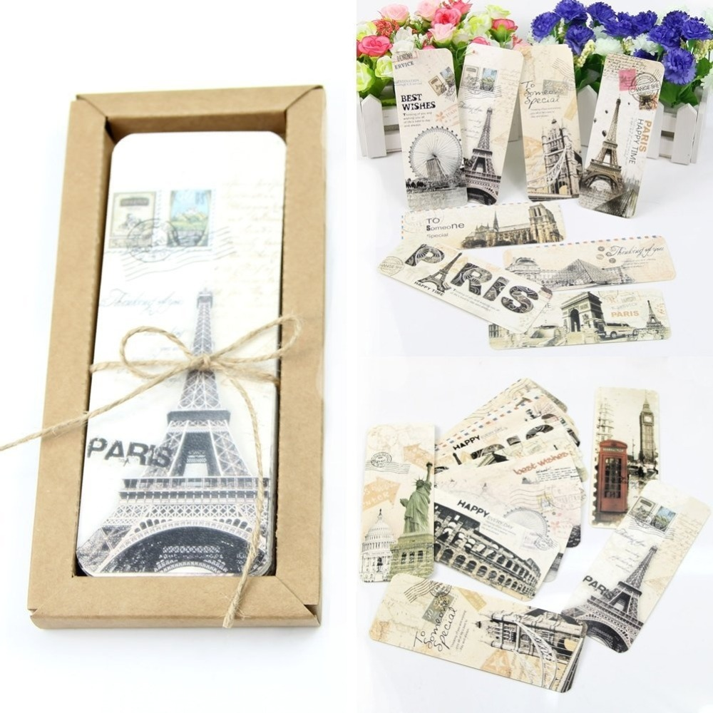 30Pcs/Lot European Scenery Bookmarks Tourist Attractions Segnalibro For Books Memo Label Stationery Office Gift Accessories