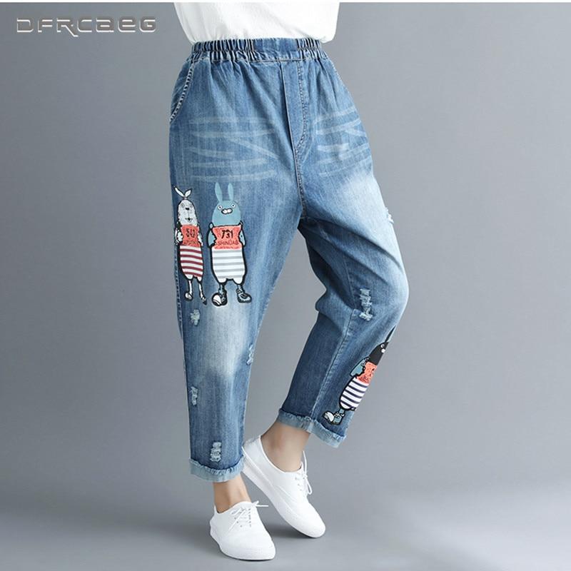 e88b7c7190e Plus Size Boyfriend Jeans For Women 2018 Autumn Cartoon Print Elastic Waist  Casual BF Retro Hole