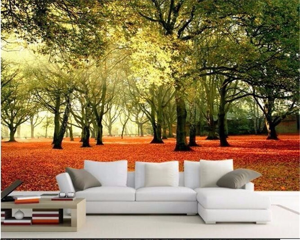 Swell Us 8 4 44 Off Beibehang 3D Wall Wallpaper Fresco Hd Deciduous Forest Sunny Landscape Park Chair Background Custom Wallpaper Papel De Parede In Inzonedesignstudio Interior Chair Design Inzonedesignstudiocom