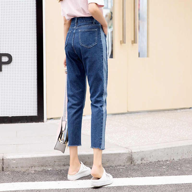 Винтажные Женские джинсы-бойфренды для женщин, джинсы с высокой талией для мам, синие повседневные узкие брюки, корейские уличные джинсовые брюки
