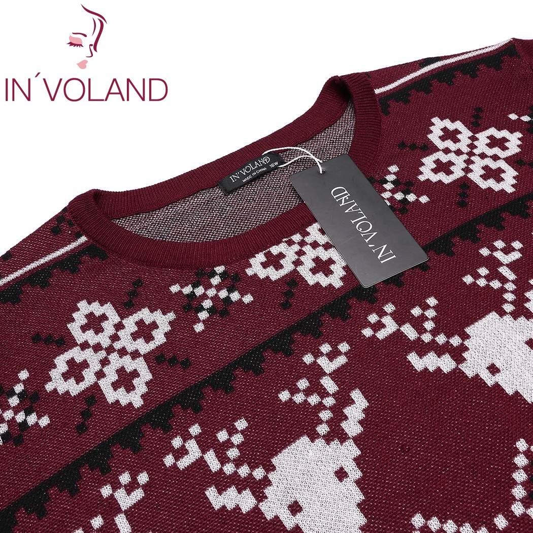 IN/'VOLAND Plus Größe XL-5XL Frauen Pullover Tops Herbst Oansatz Langarm Weihnachten Santa Geometrische Casual Große Pullover Big Size