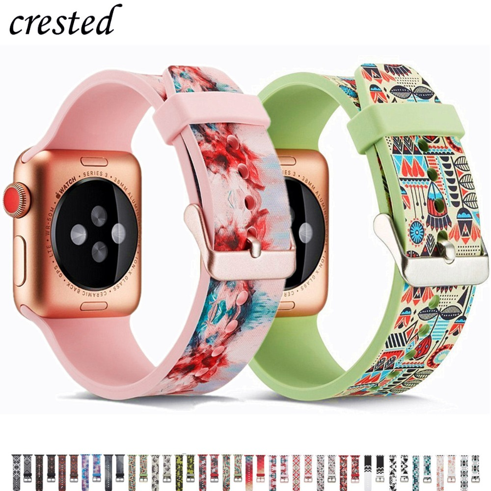 Print Strap For Apple Watch Band 44 Mm 40mm IWatch Band 38mm 42mm Silicone Watchband Bracelet Apple Watch 5 4 3 2 1 Accessories