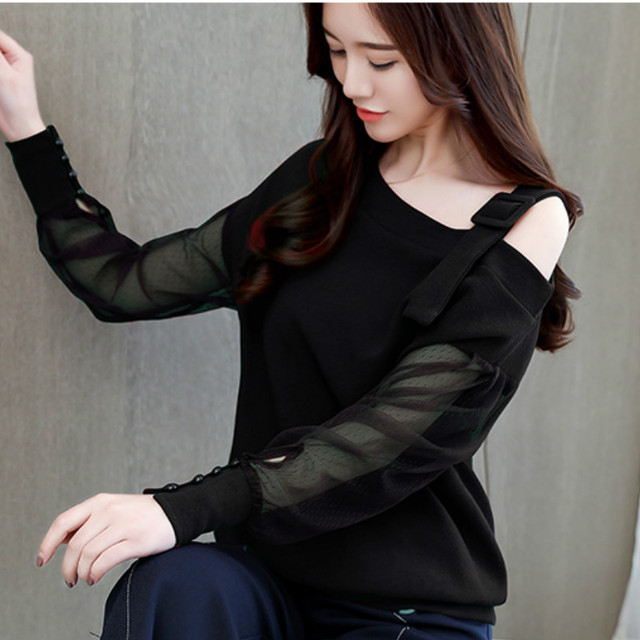 Autumn long sleeve shirt women fashion woman blouses 2018 sexy off shoulder top solid women blouse shirt clothing female 1224 40