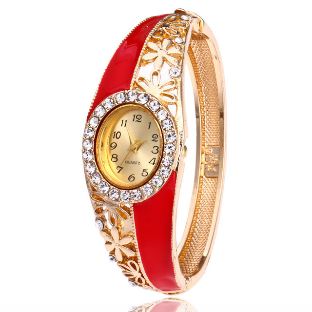 2018 Luxury Gold Women's Bracelet Watches Crystal Fashion Casual Ladies' Dress W