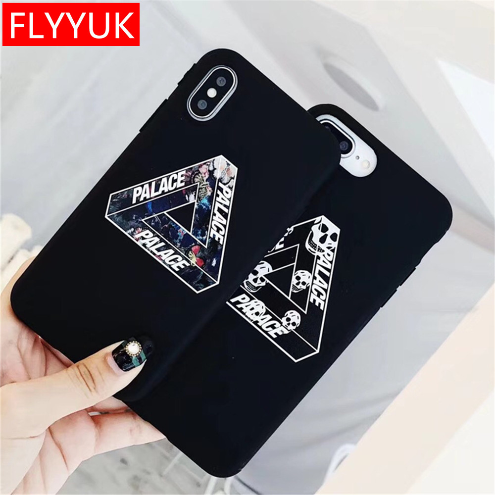 The New PALACE Triangle Candy Soft TPU Phone Case Back Cover for Iphone X 7 8 Plus Skull Head Runway for Iphone 6 6s Plus Cover