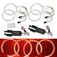 FEELDO 4X 120mm Red Car CCFL Halo Rings Angel Eyes LED Headlights for BMW E32.E34.E30.E39OEM Auto Light Kits #FD 4164