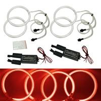FEELDO 4X 120mm Red Car CCFL Halo Rings Angel Eyes LED Headlights for BMW E32.E34.E30.E39OEM Auto Light Kits #FD 4164