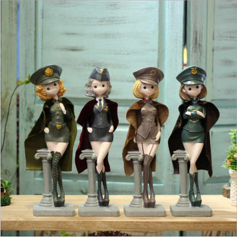 1PC Sexy Military Uniform Girl Figurines Dolls Decoration,Uniform Beauty Home Decor Resin Army Uniform Girls Crafts as Gift