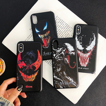 Comic Marvel soft case for iphone X XS MAX XR 8 7 6 6s plus phone cover matte silicon 3d Super relief venom fundas coque capa цена и фото