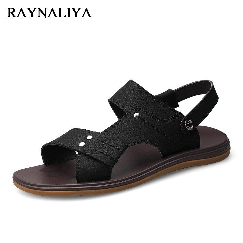 Men Sandals Summer Mens Genuine Leather Shoes Cool Soft Rubber Sole Beach Flats Casual Shoes Man Plus Size 37-47 LB-A0007