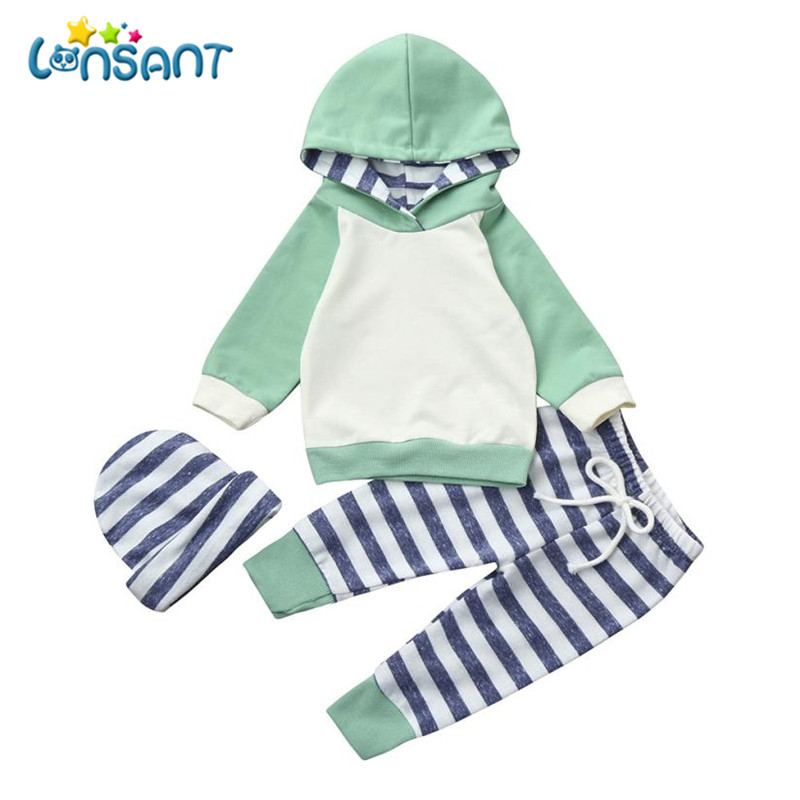 LONSANT Clothing Sets Baby Boys Girls Clothes Sets Striped Set Hoodie Tops+Pants+Hat Kids Suits Conjunto Menina Dropshipping ...